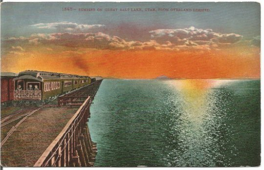 Sunrise on the Great Salt Lake, Utah From overland Limited Vintage postcard
