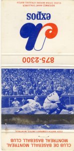 1972 Montreal Expos Match Cover, With Home Schedule Inside