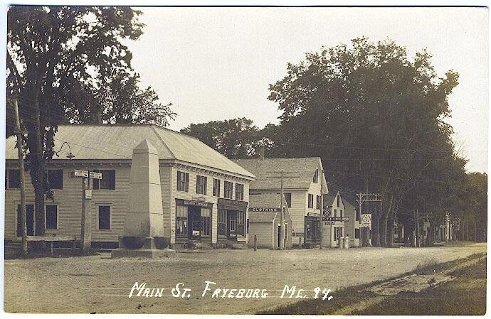 Fryeburg ME Main Street Store Fronts Drug Store Vintage Real Photo RPPC Postcard