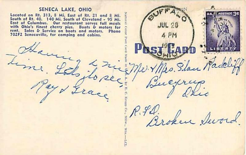 Linen View from Thompson Boat Dock Seneca Lake Ohio OH 1952
