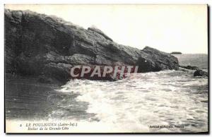 Old Postcard Pouliguen Rock of the Grande Cote
