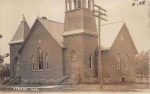 E40/ Urbana Indiana In Real Photo RPPC Postcard c1910 E.V. Church Building