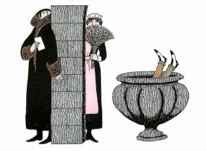 Mystery PBS TV Series Secret Note and Urn by Edward Gorey - Large Postcard #1