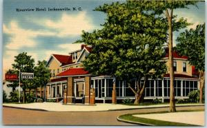 Jacksonville, North Carolina Postcard RIVERVIEW HOTEL Street View Linen c1940s