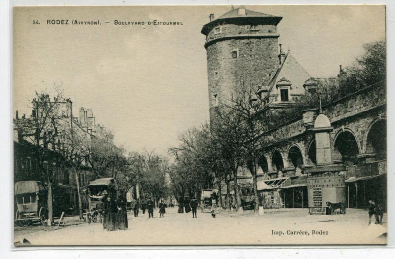Boulevard d'Estourmel Rodez France 1910s postcard