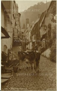 High Street Clovelly England - UK - Vintage RPP Real Photo Postcard Sienna