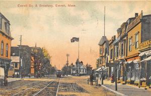 Everett MA Everett Square & Broadway Trolley Horse & Wagon Old Car Postcard
