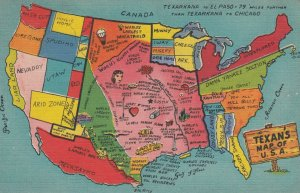Texan's Map of USA , 1930-40s