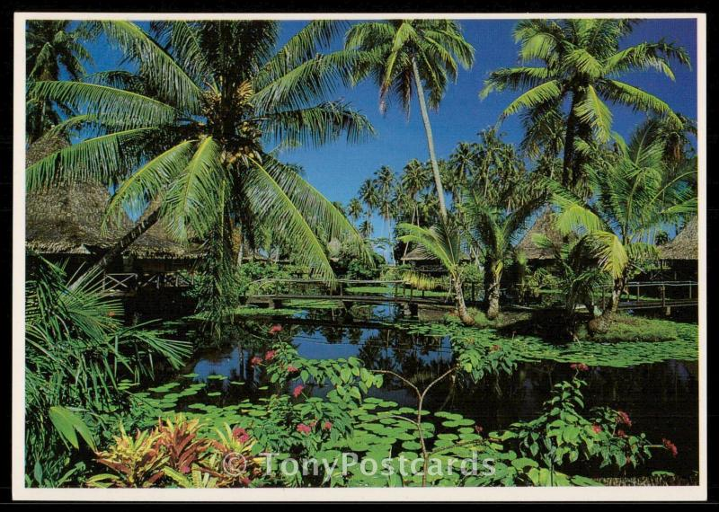 Extraordinary tropical garden of the Hotel Bah Hai in Huahine