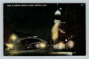 Columbus OH, High Street Electric Arches at Night, Vintage Ohio c1908 Postcard