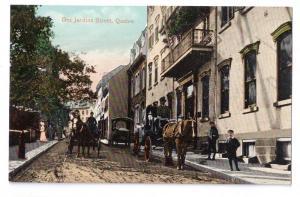 Canada Quebec Des Jardins Street Horse Carriage Postcard