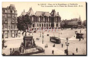 Postcard Old Lille Place de la Republique and Faidherbe Tramway