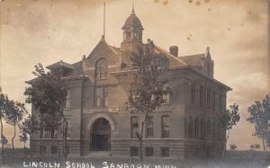 Sanborn Minnesota~Lincoln School House~Wind Blows Trees~Dark Clouds~1910 RPPC