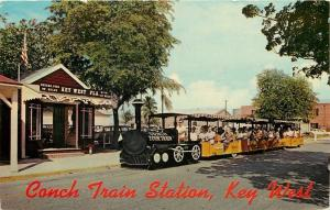 Key West Florida~Conch Tour Train Station~RR Depot~1970 Postcard