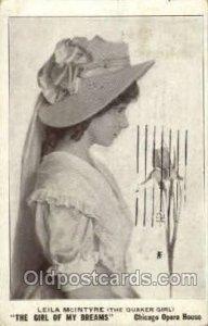 Leila McIntyre Theater 1911 light wear, postal marking on front, postal used ...
