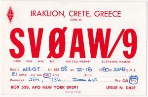 QSL, SV0AW/9, Crete, Greece, 1980