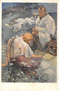 Artist Signed Mucha Man & Woman Geese Postcard