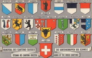 Arms Of The Swiss Cantons Switzerland Shield Rare Postcard