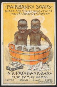 VICTORIAN TRADE CARD Fairbanks Soap Fairbank Twins in Wash Bucket