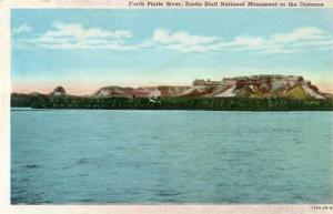 NE - North Platte River,  Scott's Bluff in Distance