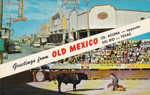Ciudad Avenue and Bull Fight Greetings From Old Mexico