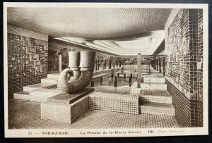 Mint France Real picture postcard Normandie Swimming Pool Cabin Class