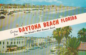 Florida Daytona Beach Greetings Showing Beach and Downtown 1961