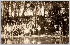 RPPC Tug of War Over Pond~Group of Onlookers, Young and Old~c1910 Postcard PC