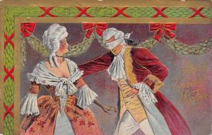 Christmas~Regency Couple at Ball~Blindfolded Man~Holly Garland~Gold Leaf Emboss