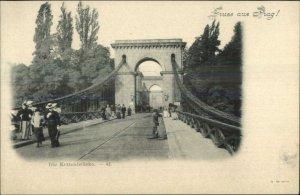 Gruss Aus Prag Prague Czech c1900 Postcard DER KETTENBRUCKE