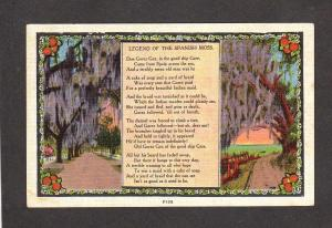 Legend of the Spanish Moss Spain Poem Poet Postcard Carte Postale Ship Gree