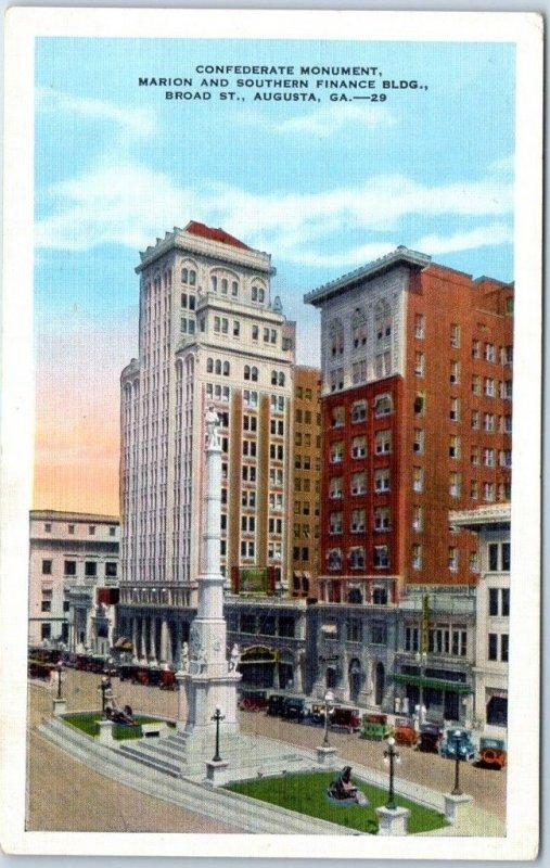 Augusta, Georgia Postcard Confederate Monument / Broad Street Scene Kropp Linen