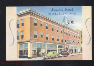 RENO NEVADA SANATON HOTEL VINTAGE LINEN ADVERTISING POSTCARD OLD CARS
