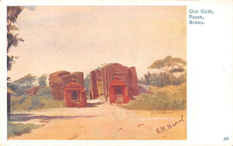 Myanmar Burma Old Gate, Pagan, Burma, F M  Muriel Signed