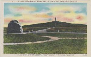 North Carolina Asheville Marker And Monument At Base And Top Of Kill Devil Hills