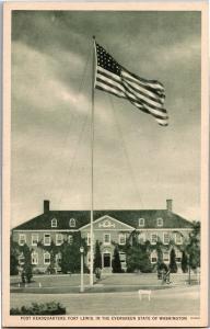 Post Headquarters Fort Lewis WA Armed Services Vintage Postcard R03