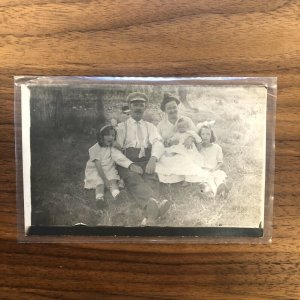 Early AZO RPPC - Family With Children - PICNIC - VINTAGE - POSTCARD