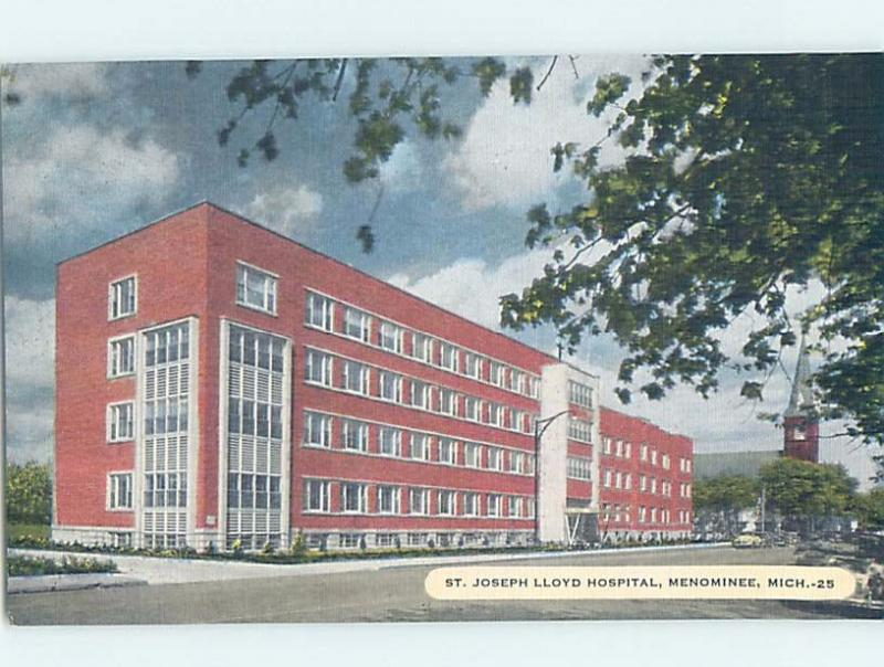 Unused Linen HOSPITAL SCENE Menominee Michigan MI d5535