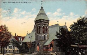 Oil City Pennsylvania~Christ Episcopal Church~Ornate Belltower~Postcard
