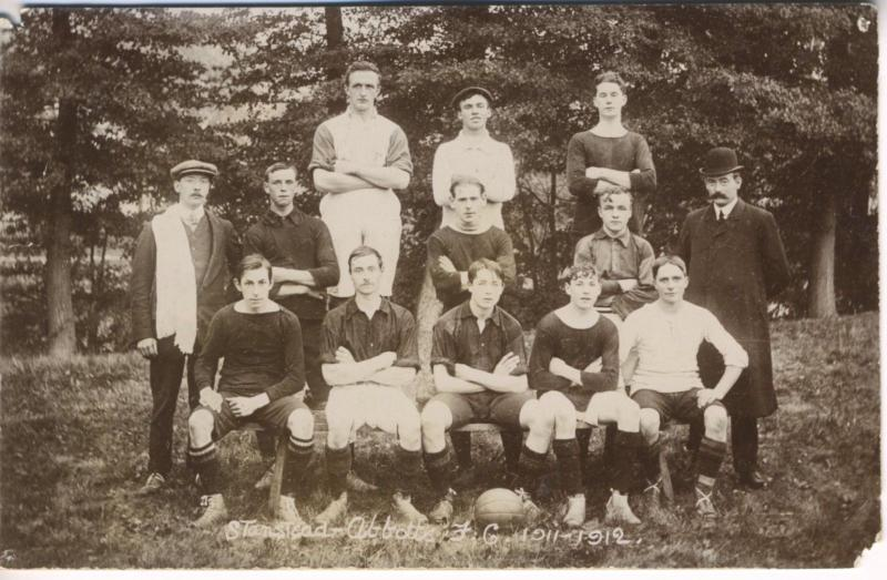 Team Photo FG 1911-12 Stanstead Abbotts Hertfordshire RPPC Postcard E5 (AS IS)