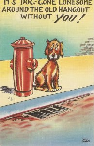 Comic Dob. It's dog gone lonesome arounnd the... Humorous American linen PC