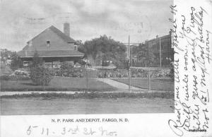1908 Northern Pacific Railroad Depot Fargo North Dakota Porte postcard 6620