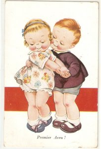 Children couple. First Confession! Premier Aveu! Lovelyvintage French Postcard
