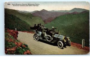 *Auto Road Denver Mountain Parks Golden Idaho Springs Colorado Car Postcard B60