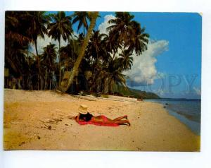 241445 TAHITI MOOREA Lagoon sand beach RPPC POLYNESIE 1979 yea