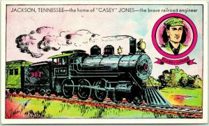 Jackson, Tennessee Postcard The Home of CASEY JONES - Brave Railroad Engineer