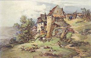 Czech Art Postcard , Tree & farm house , 00-10s ; Partie z Jevisovic (Morava)