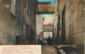 Postcard Canada Quebec petite rue sous le cap street drawing business
