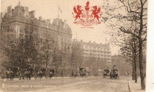 London.Cecil and Savoy Hotels. Horse-cars  Tuck Heraldic View PC