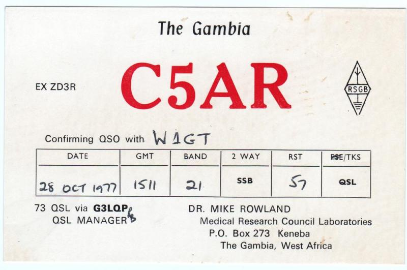 QSL, C5AR, The Gambia, 1977